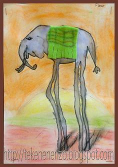 Olifanten op hoge poten, in de stijl van Salvador Dali