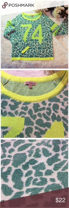 "JUICY COUTURE SWEATER Never worn. Varsity style metallic teal and neon lime. Vey soft material. 20"" long 18"" across chest. Juicy Couture Sweaters Crew & Scoop Necks"