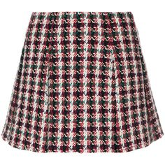 Red, white and black virgin wool-blend tweed mini skirt from Philosophy Di Lorenzo Serafini.  Size: 40.  Gender: Female.  Material: Polyester/Other fibres/Virg…
