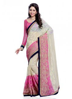 Faux Chiffon Lace Pink and Off White Classic Designer Saree
