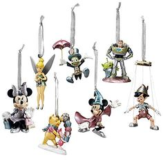 Limited Edition Disney Store 25th Anniversary World of Disney Ornament Collection - Tinker Bell Buzz Lightyear Pinocchio Jiminy Cricket Winnie the Pooh Piglet Mickey Mouse Minnie Mouse