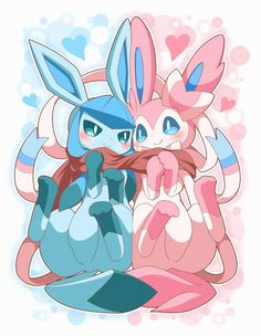 Extremely Cute Glaceon and Sylveon