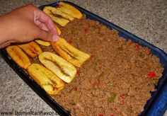 Need to TURN THIS into AIP - Plantain recipe. Mashed plantain on bottom w/fried plantain on top. Great idea for a casserole. Haitian Food Recipes, Cuban Recipes, Entree Recipes, Paleo Recipes, Cooking Recipes, Beef Dishes, Tasty Dishes, Comida Boricua, Plantain Recipes