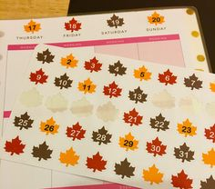 Fall Leaves Date Covers : Countdown stickers www.etsy.com/shop/thepolicewifeplanner