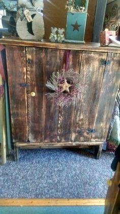 Primitive wooden cupboard $174.99 Www.facebook.com/cherisheverymomentcrafts