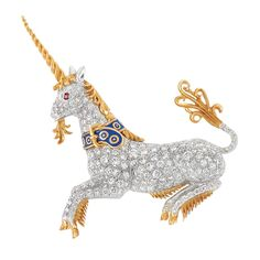 Platinum, Gold, Diamond and Enamel Unicorn Brooch   160 round & single-cut diamonds ap. 3.75 cts., with maker's mark, ap. 11.2 dwt.     C Property of an Indiana Estate