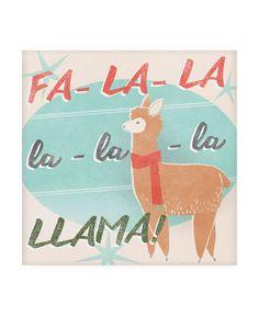 June Erica Vess Llama Retro Christmas Iv Canvas Art - 15