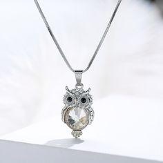 Best Cheap Swarovski Element #Crystal #Owl #Necklace Chunky Silver Necklace, Silver Drop Earrings, Silver Bracelets, Sterling Silver Necklaces, Silver Jewelry, Owl Jewelry, Animal Jewelry, Pendant Jewelry, Vintage Jewelry