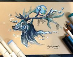 Another elemental stag spirit for this month on Patreon <3