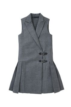 Marc by Marc Jacobs Lightweight Wool Tuxedo Pinafore dress in Shadow Grey Melange