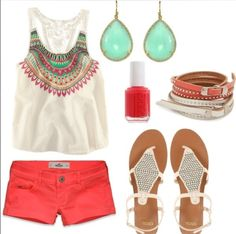 A cute summer outfit for a cookout, BBQ, or going to the mall with a group of friends!