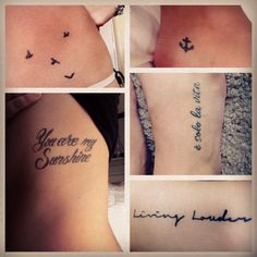Collage of all my small tattoos. Rib tattoo, foot tattoo, bicep arm tattoo, anchor ankle tattoo and 4 birds on my hip tattoo:)