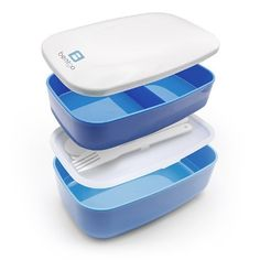 Our Blue Bentgo - The All-in-one Stackable Lunch Box Solution - Sleek and Modern Bento Box Design Includes 2 Stackable Containers, Built-in Plastic Silverware, and Sealing Strap