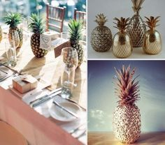 Table decoration: Pineapple will bring a touch of fantasy and origins . Exotic Wedding, Tropical Party, Rose Bouquet, Pineapple, Table Decorations, The Originals, Home Decor, Invitations, Origins