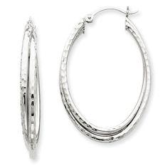 14k White Gold Diamond-cut Polished Oval Hoop Earrings