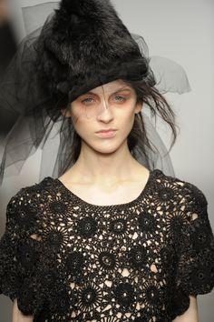 AW13  #johnrocha #AW13 #catwalk #london #detail #black #crochet. Minus the hat