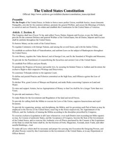 Constitution: Preamble and Article section 8 United States Constitution, American History, Revolution, Us History