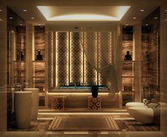 salle de bain de luxe à motifs marocains