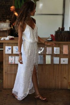 white flowy maxi dress.