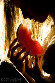 Black profile with Watermelon: Photo by Photographer Roberto Roseano - photo.net