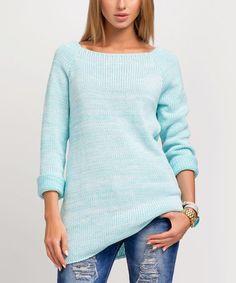 Look what I found on #zulily! Mint Boatneck Sweater #zulilyfinds