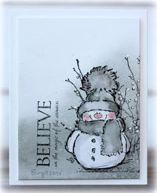 Rapport från ett skrivbord: Snowmen in grey! by hilaryI´ve done two cards with snowmen in grey with stamps from Penny Black! :) For this card I used Frosty´s Wish Holiday Snippets .Today was gray, dull, dark, rainy and depressing here in Upstate N Homemade Christmas Cards, Christmas Cards To Make, Xmas Cards, Homemade Cards, Handmade Christmas, Holiday Cards, Christmas Trees, Christmas Cookies, Penny Black Cards
