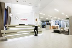 Selvaag - Interior architecture project by IARK Reception Areas, Interior Architecture, Projects, Log Projects
