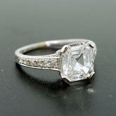 A Brandt and Son - Art Deco Asscher Cut Diamond Engagement Ring 2.01ct