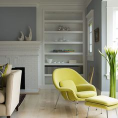 gray and chartreuse family room