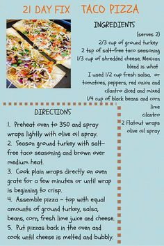 Healthy recipes · 21 day fix taco pizza 21 Day Fix Menu, 21 Day Fix Meal Plan, Taco Pizza, Fixate Recipes, Healthy Recipes, 21 Day Fix Recipies, 21 Day Fix Recipes Dessert, 21 Day Fix Diet, 21 Day Fix Snacks