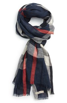 Burberry Crinkled Linen Check Scarf