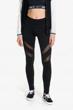 Black athletic leggings with mesh inserts on the thigh Mesh Leggings, Sports Leggings, Hot Outfits, Fashion Outfits, High School Outfits, Athleisure Outfits, Clothes For Women, Hot Clothes, Casual Wear