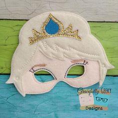 Queen Elsa Felt Mask Embroidery Design - 5x7 Hoop or Larger