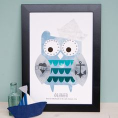 A super cute sailor owl tattoo illustration that would look great on the wall of a childs nursery, bedroom or playroom.    In various shades of blue