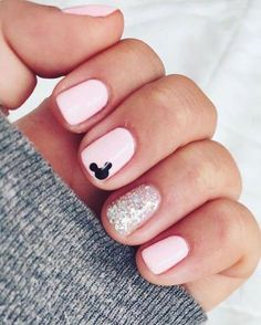These Disney Nail Art Ideas Will Inspire Your Next Magical Manicure - Glitter . - These Disney Nail Art Ideas Will Inspire Your Next Magical Manicure – Glitter Nails - Disney Gel Nails, Mickey Nails, Minnie Mouse Nails, Simple Disney Nails, Mickey Mouse Nail Art, Disney Halloween Nails, Simple Gel Nails, Pink Minnie, Pastel Pink Nails