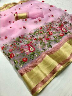 Style Array Present Beautiful Pink Colored Embroidered Branded Organza Silk Saree Silk Saree Kanchipuram, Chiffon Saree, Set Saree, Wedding Sarees Online, Baby Pink Colour, Embroidery Saree, Flower Embroidery Designs, Work Sarees, Sari Fabric