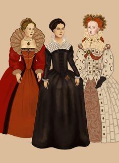 1570 .:2:. Various dresses of the Elizabethan renaissance period.by Tadarida.deviantart.com on @DeviantArt