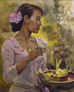 Leslie Goh - Devotions, Jimbaran, Bali, Indonesia.  2007 Oil on Canvas Portrait