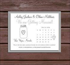 Mason Jar Save the Date Cards
