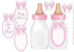 """Pink Baby Bottle Folded card for Baby Girl on Craftsuprint designed by Julene Harris - This is a folded card in the shape of a baby bottle. Labels included: """"It's A Girl!"""", """"Baby Shower"""", and one blank label that you can customize as you wish. Matching """"Oval Lace and Ribbon"""" inserts are available that will fit perfectly inside these folded cards. Mini versions of the folded baby bottle cards and inserts are also available. Please click on my name to view more of my designs. - Now available…"""