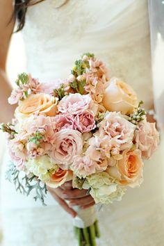 pink, corral, blush, creamy whites bridal bouquet, Gloria : Bridal Pics, J May Photo