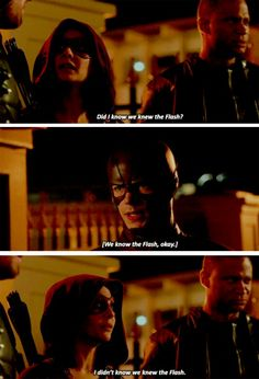 """""""I didn't know we knew The Flash"""" - Thea, Diggle and Barry #TheFlash"""