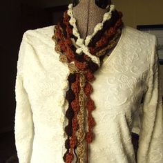 Chocolate Maple Scarf Crochet Skinny Accessory by GypsythatIwas, $28.00