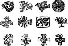 Conjunto de glifo maya mexicana