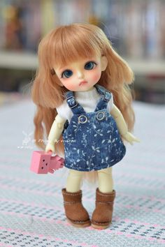 Lati doll outfit flower blue cotton