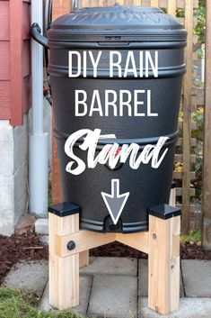 Elevate your rain barrel for increased water pressure and easy access to the spigot! This DIY rain barrel stand is sturdy enough to hold hundreds of pounds of water, yet only uses four screws! Get the free woodworking plans and tutorial at The Handym Diy Garden Projects, Outdoor Projects, Garden Ideas, Wood Projects, Outdoor Decor, Easy Woodworking Projects, Woodworking Plans, Woodworking Classes, Woodworking Shop