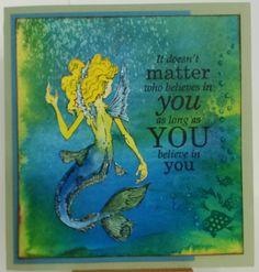 Mermaid by Visual Image Printery. Card by Susan of Art Attic Studio