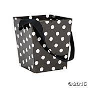 Black Polka Dot Buckets with Ribbon Handle