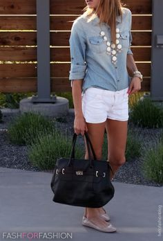 GREAT outfit! - Classic, simple, feminine! Chambray Shirt + White Shorts + Bauble Necklace