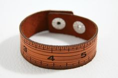 Great back-to-school gift for students and teachers alike!  Ruler leather bracelet to scale!  $20